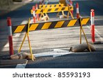 brightly coloured council road... | Shutterstock . vector #85593193