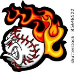Softball or Baseball Face Flaming Vector Cartoon