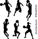 basketball female silhouettes   Shutterstock .eps vector #85648543