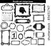 big doodle set   vintage frame | Shutterstock .eps vector #85651747