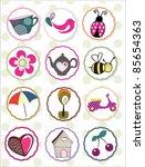 sweet nature sticker set | Shutterstock .eps vector #85654363