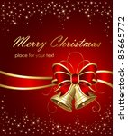 christmas bells with ribbon on... | Shutterstock .eps vector #85665772