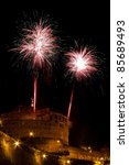 Mausoleum of Hadrian, usually known as the Castel Sant'Angelo during fireworks - stock photo