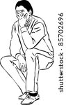 sketch of a man covering his... | Shutterstock .eps vector #85702696