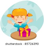 little girl with a gift  a... | Shutterstock .eps vector #85726390