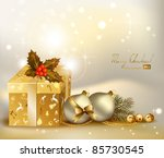 light christmas background with ... | Shutterstock .eps vector #85730545