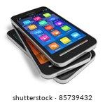 Set Of Touchscreen Smartphones...