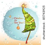 card with christmas tree.... | Shutterstock .eps vector #85743925