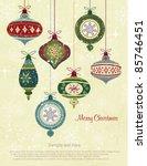 retro christmas ornaments | Shutterstock .eps vector #85746451
