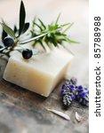 closeup of natural herbal soap - stock photo