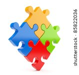 Puzzle 3d isolated on white. Team concept - stock photo