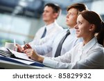 three business people sitting... | Shutterstock . vector #85829932