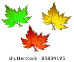 Autumn green, red and yellow leaves for seasonal design. Rasterized version also available in gallery - stock vector
