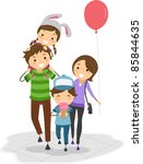 illustration of a family in a... | Shutterstock .eps vector #85844635