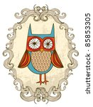 owl with frame illustration... | Shutterstock .eps vector #85853305