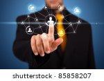 businessman pressing modern... | Shutterstock . vector #85858207