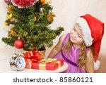 soon new year  little girl at a ...   Shutterstock . vector #85860121