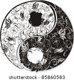 floral yin yang symbol vector...   Shutterstock .eps vector #85860583