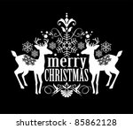Black and white christmas design - stock vector