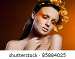 elegant fashionable woman with... | Shutterstock . vector #85884025