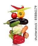 fresh vegetables isolated on... | Shutterstock . vector #85886179