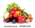 fresh vegetables isolated on... | Shutterstock . vector #85889350