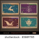 vintage collection of chipboard ... | Shutterstock .eps vector #85889785
