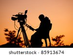silhouette of a tv cameraman... | Shutterstock . vector #85913674