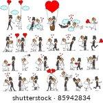 cartoon wedding pictures | Shutterstock .eps vector #85942834