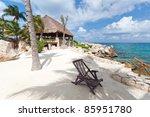 idyllic mexican coast scenery... | Shutterstock . vector #85951780