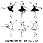 ballet woman dancers. vector... | Shutterstock .eps vector #85957942