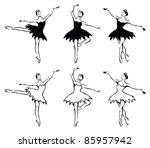 ballet woman dancers. vector... | Shutterstock .eps vector #85957942