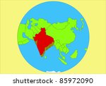 vector drawing of map of asia...