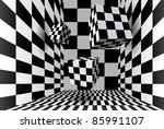 Flying Cubes In A Checkered Room