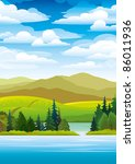 green landscape with mountains  ...   Shutterstock .eps vector #86011936