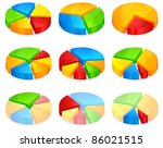 Color circular diagrams with different size pieces, vector illustration - stock vector
