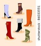 set of women boots