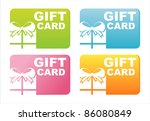 set of 4 colorful gift cards   Shutterstock .eps vector #86080849