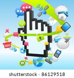 hand sign cloud computing... | Shutterstock .eps vector #86129518