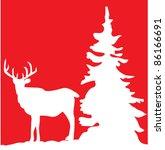vector reindeer and a tree   Shutterstock .eps vector #86166691