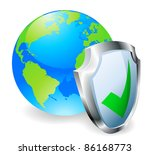 Globe with shield icon with green tick. Concept for internet security or antivirus or firewall etc. - stock vector
