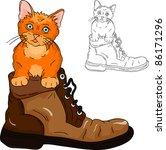 Stock vector vector adorable little kitten inside a boot 86171296