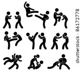 Fight Fighter Muay Thai Boxing Karate Taekwondo Wrestling Kick Punch Grab Throw People Icon Sign Symbol Pictogram - stock photo