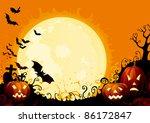 happy halloween  three glowing... | Shutterstock .eps vector #86172847
