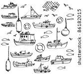 Sea And Hand Drawn Boat Set