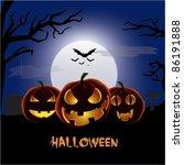 halloween blue background | Shutterstock .eps vector #86191888
