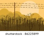 Birds on wires in autumn countryside landscape background illustration - stock vector