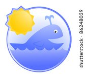 circular icon with happy whale | Shutterstock .eps vector #86248039