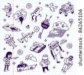 crazy doodles school notebook.... | Shutterstock .eps vector #86265106
