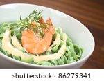 green tagliatelle  ribbon... | Shutterstock . vector #86279341